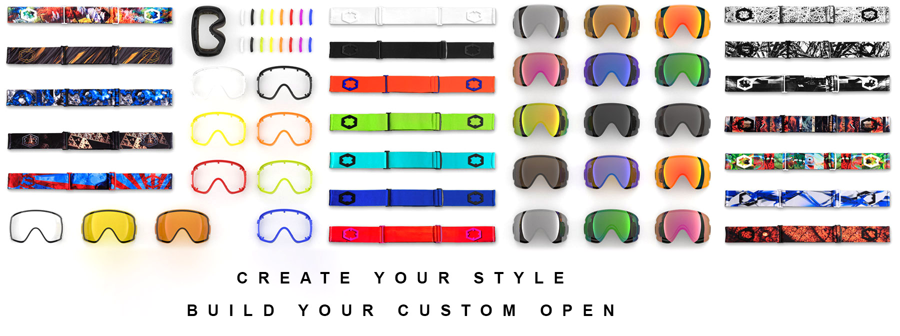 create your style, build your custom out of open goggle, we will ship it in two days